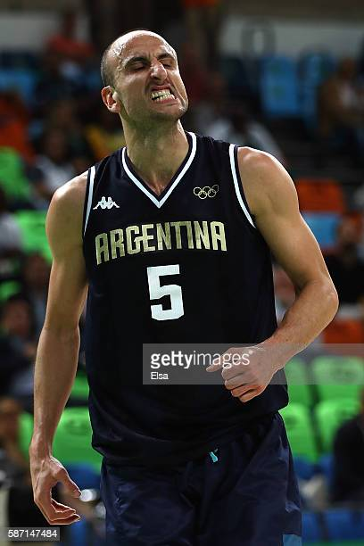 Manu Ginobili of Argentina reacts during a Men's preliminary round basketball game between Nigeria and Argentina on Day 2 of the Rio 2016 Olympic...