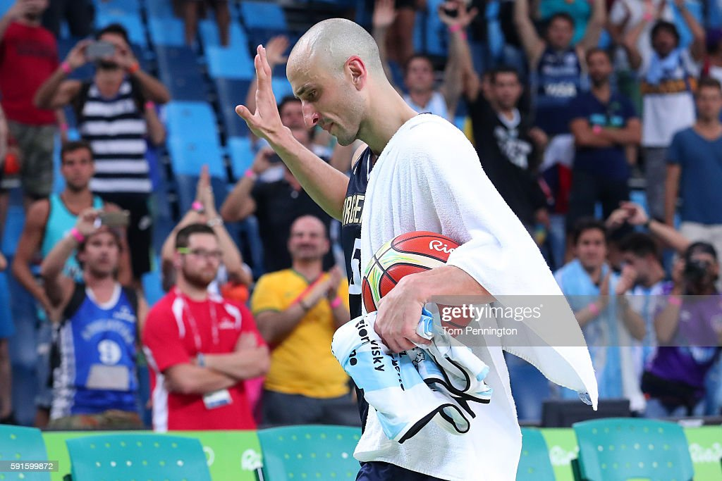 Manu Ginobili #5 of Argentina waves to the fans after losing to the United States during the Men's Basketball Quarterfinal game at Carioca Arena 1 on Day 12 of the Rio 2016 Olympic Games on August 17, 2016 in Rio de Janeiro, Brazil.