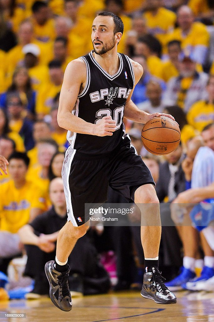 Manu Ginobili #20 of the San Antonio Spurs advances the ball against the Golden State Warriors in Game Six of the Western Conference Semifinals during the 2013 NBA Playoffs on May 16, 2013 at Oracle Arena in Oakland, California.