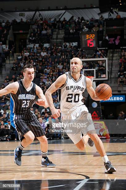 Manu Ginobili of the San Antonio Spurs against the Orlando Magic on February 1 2016 at the ATT Center in San Antonio Texas NOTE TO USER User...