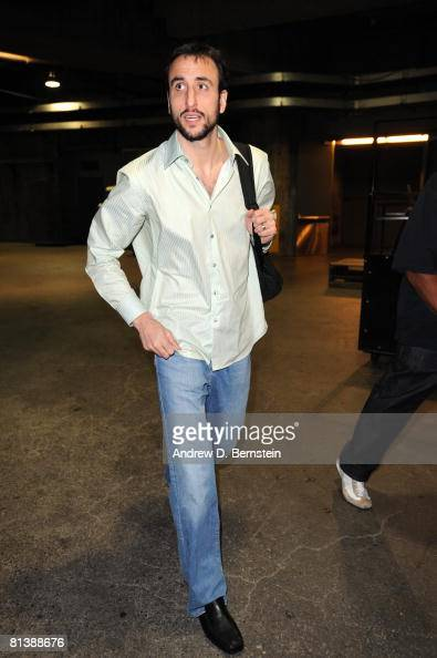Manu Ginobili of the San Antonio Spurs arrives at the arena for Game Five of the Western Conference Finals against the Los Angeles Lakers during the...