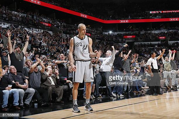 Manu Ginobili of the San Antonio Spurs celebrates against the Memphis Grizzlies on March 25 2016 at the ATT Center in San Antonio Texas NOTE TO USER...