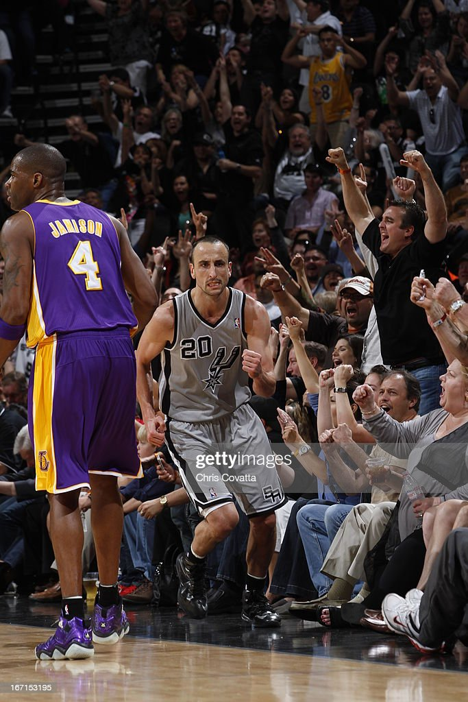 Manu Ginobili #20 of the San Antonio Spurs celebrates during the Game One of the Western Conference Quarterfinals between the Los Angeles Lakers and the San Antonio Spurs on April 21, 2013 at the AT&T Center in San Antonio, Texas.