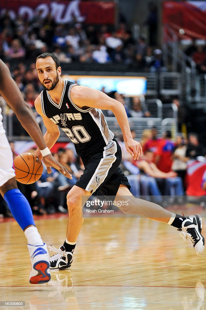 Manu Ginobili #20 of the San Antonio Spurs controls the ball against the Los Angeles Clippers at Staples Center on February 21, 2013 in Los Angeles, California.