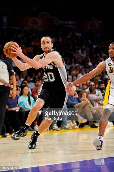 Manu Ginobili of the San Antonio Spurs drives against the Los Angeles Lakers in Game Four of the Western Conference Quarterfinals during the 2013 NBA...