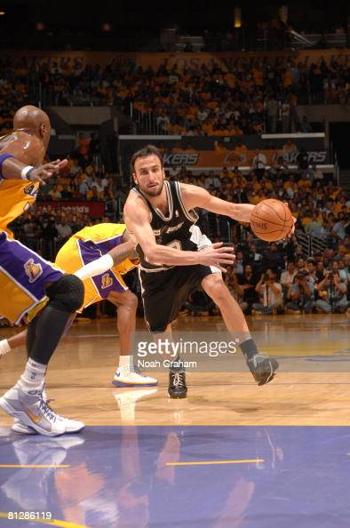 Manu Ginobili of the San Antonio Spurs drives against the Los Angeles Lakers in Game Five of the Western Conference Finals during the 2008 NBA...