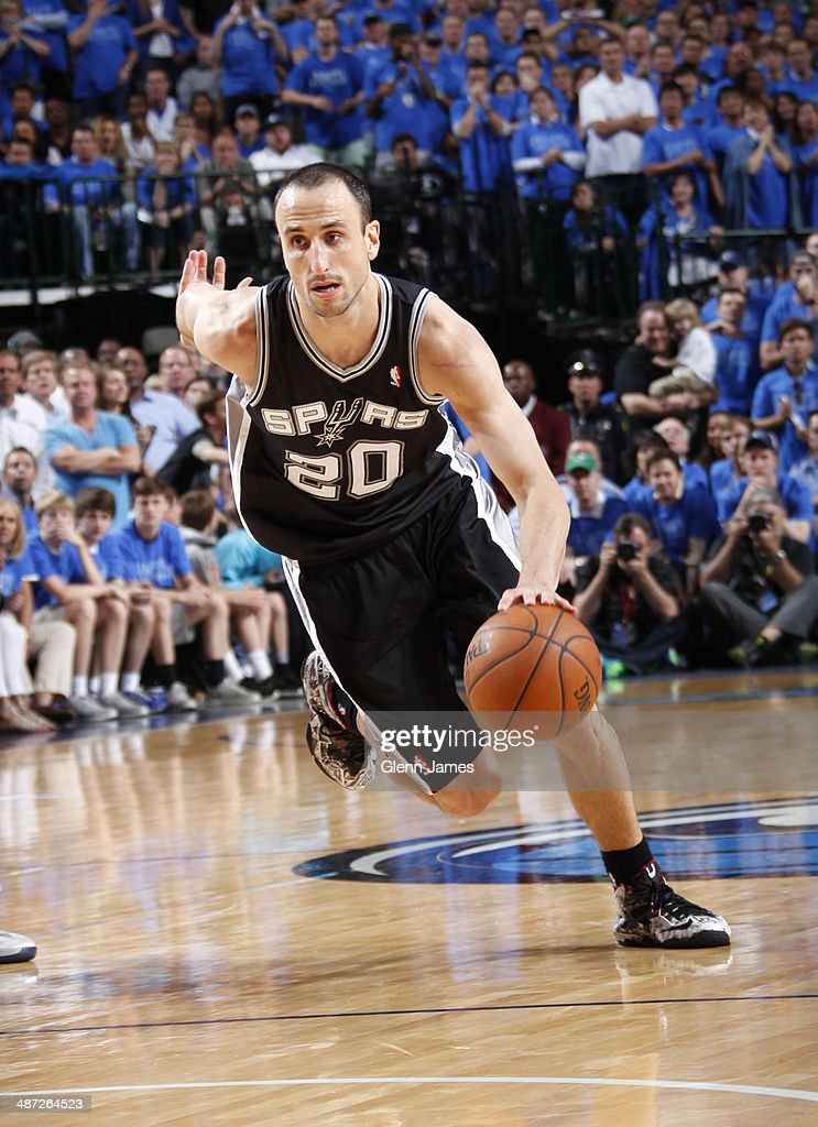 Manu Ginobili #20 of the San Antonio Spurs drives to the basket against the Dallas Mavericks in Game Four of the Western Conference Quarterfinals during the 2014 NBA Playoffs on April 28, 2014 at the American Airlines Center in Dallas, Texas.