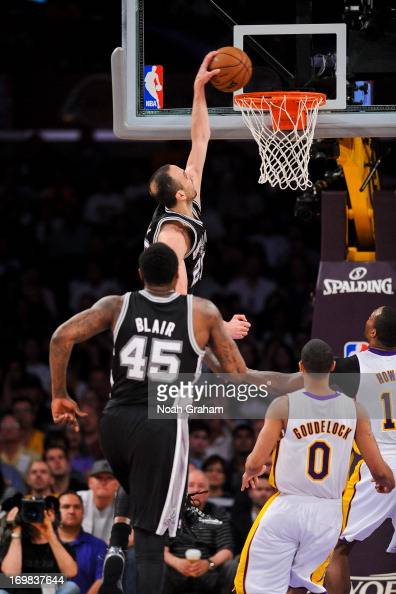 Manu Ginobili of the San Antonio Spurs dunks against the Los Angeles Lakers in Game Four of the Western Conference Quarterfinals during the 2013 NBA...