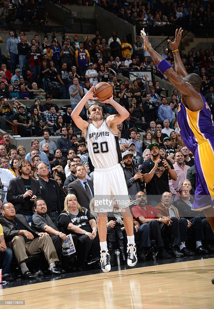 Manu Ginobili #20 of the San Antonio Spurs goes for a jump shot during the game between the Los Angeles Lakers and the San Antonio Spurs on January 9, 2013 at the AT&T Center in San Antonio, Texas.