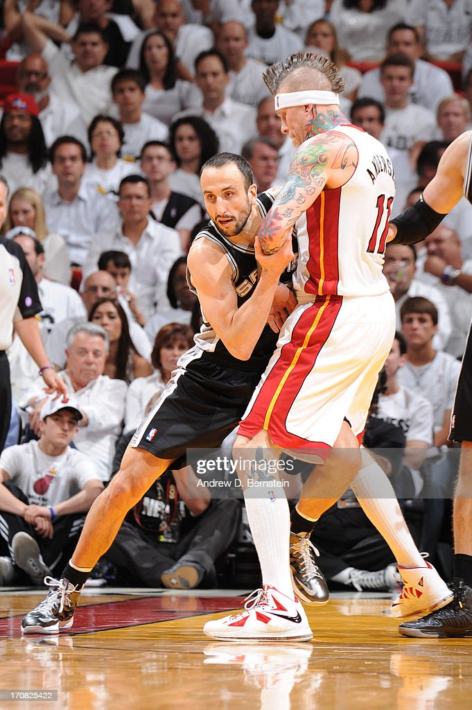 Manu Ginobili #20 of the San Antonio Spurs guards <a gi-track='captionPersonalityLinkClicked' href=/galleries/search?phrase=Chris+Andersen+-+Jogador+de+basquetebol&family=editorial&specificpeople=12319595 ng-click='$event.stopPropagation()'>Chris Andersen</a> #11 of the Miami Heat during Game Six of the 2013 NBA Finals on June 18, 2013 at the American Airlines Arena in Miami, Florida.