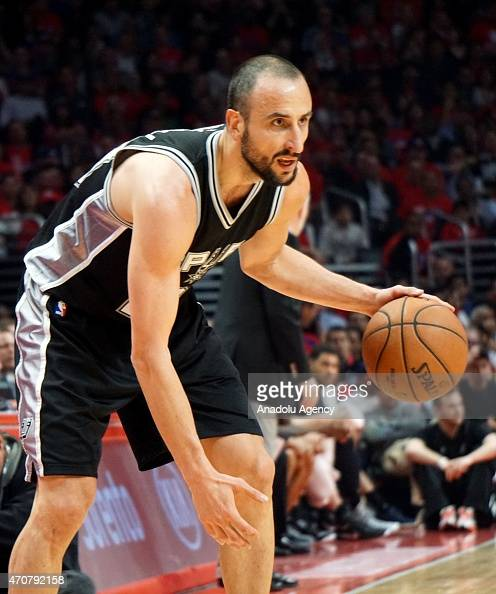 Manu Ginobili of the San Antonio Spurs in action against Los Angeles Clippers during the first round of the 2015 NBA Western Conference Playoffs game...