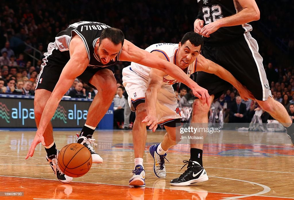 Manu Ginobili #20 of the San Antonio Spurs in action against Pablo Prigioni #9 of the New York Knicks at Madison Square Garden on January 3, 2013 in New York City. The Knicks defeated the Spurs 100-83.