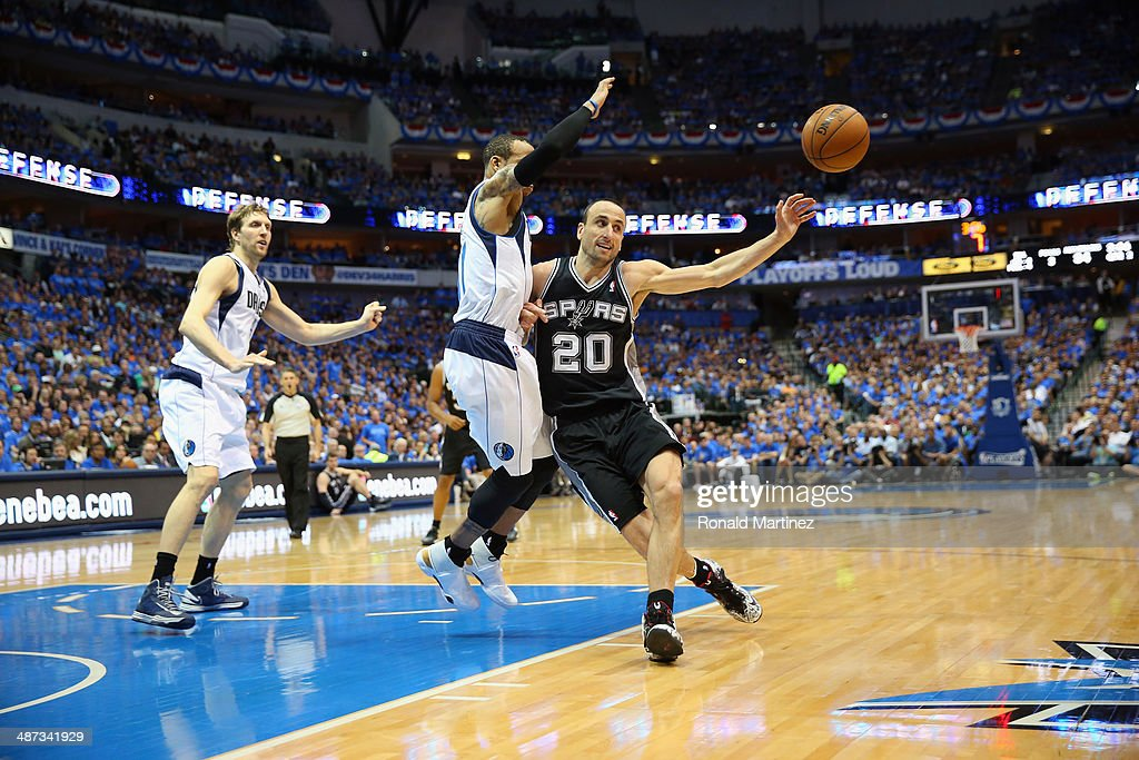 Manu Ginobili #20 of the San Antonio Spurs in Game Four of the Western Conference Quarterfinals during the 2014 NBA Playoffs at American Airlines Center on April 28, 2014 in Dallas, Texas.