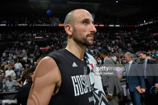 Manu Ginobili of the San Antonio Spurs looks on after the game against the Golden State Warriors during Game Four of the Western Conference Finals of...
