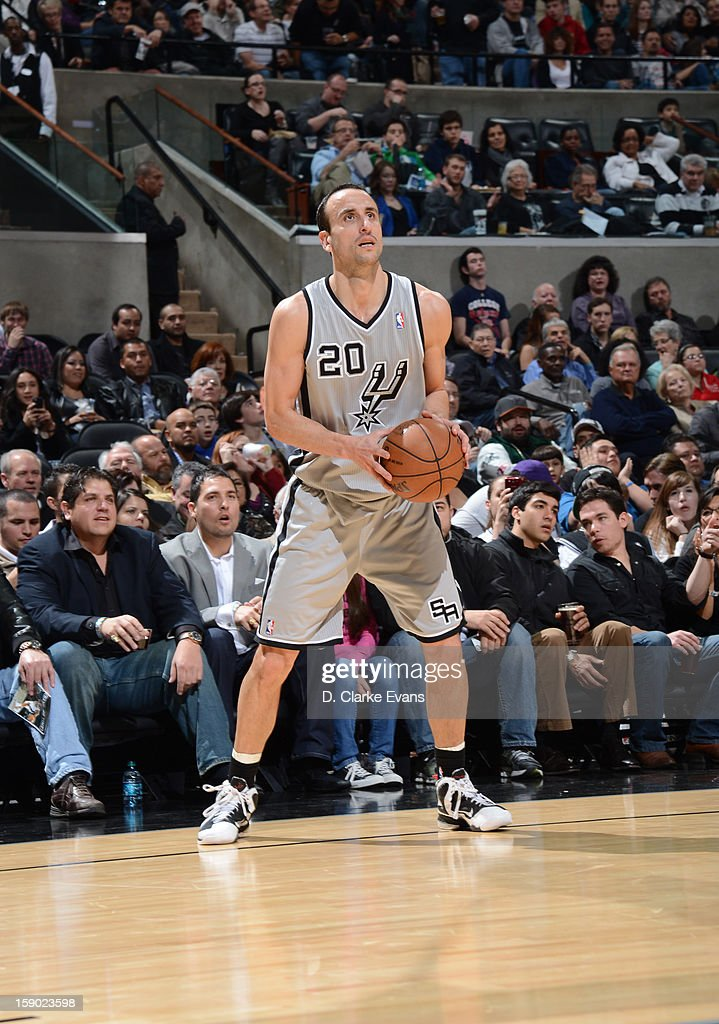 Manu Ginobili #20 of the San Antonio Spurs looks on during the game between the Philadelphia 76ers and the San Antonio Spurs on January 5, 2013 at the AT&T Center in San Antonio, Texas.