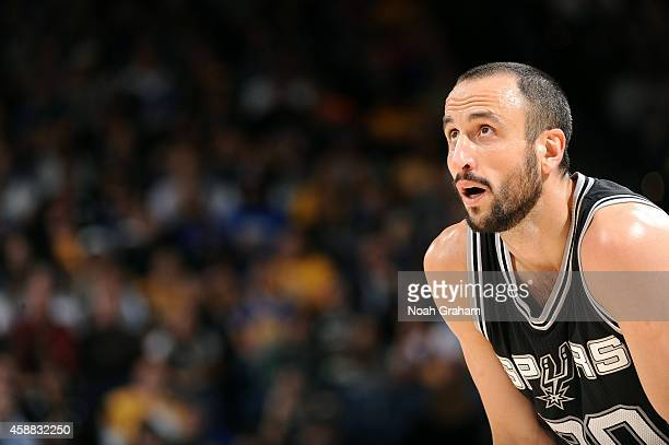 Manu Ginobili of the San Antonio Spurs looks on during the game against the Golden State Warriors on November 11 2014 at Oracle Arena in Oakland...