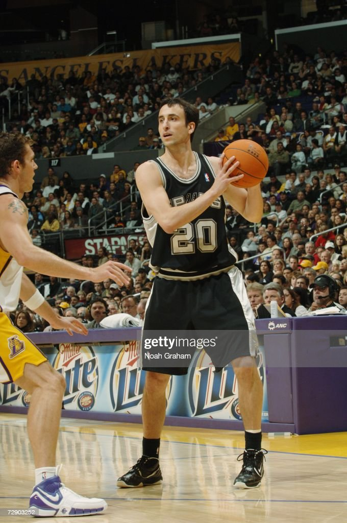 Manu Ginobili #20 of the San Antonio Spurs looks to move the ball against the Los Angeles Lakers during the game at Staples Center on December 10, 2006 in Los Angeles, California. The Lakers won 106-99.