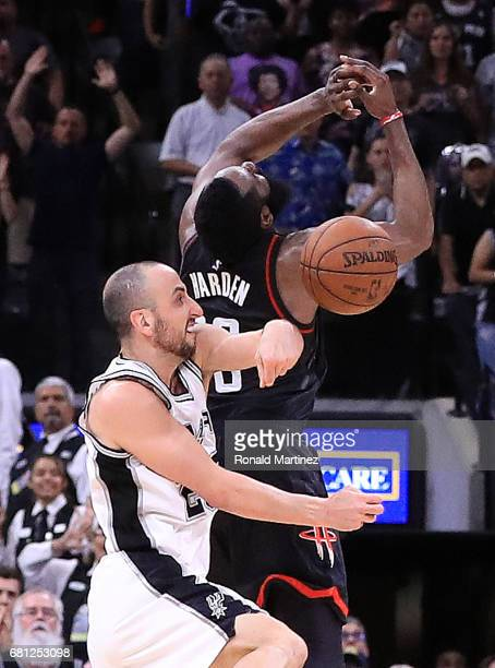 Manu Ginobili of the San Antonio Spurs makes the block against the threepoint attempt by James Harden of the Houston Rockets in the final second of...