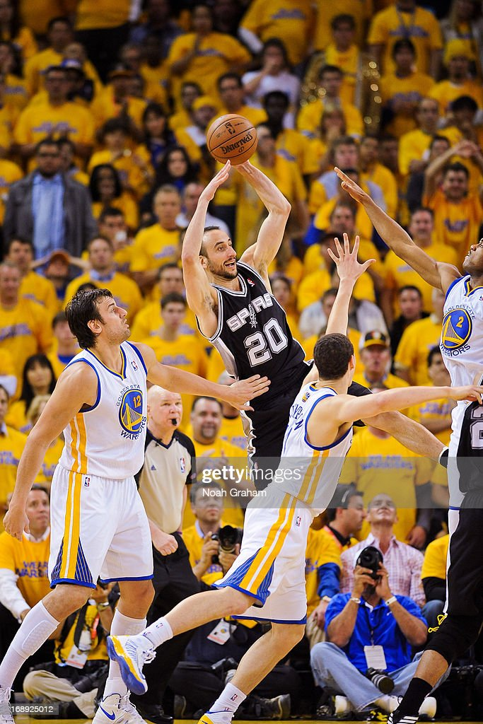 Manu Ginobili #20 of the San Antonio Spurs passes the ball against Andrew Bogut #12, Klay Thompson #11 and Jarrett Jack #2 of the Golden State Warriors in Game Six of the Western Conference Semifinals during the 2013 NBA Playoffs on May 16, 2013 at Oracle Arena in Oakland, California.