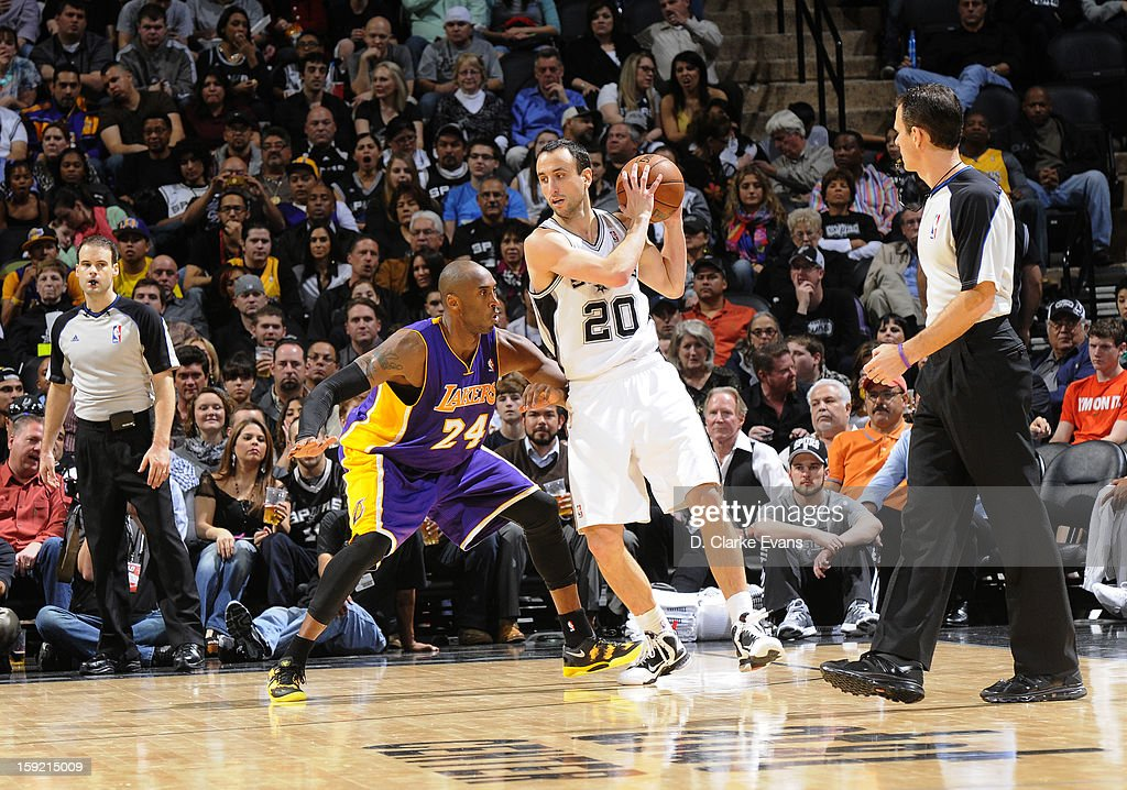 Manu Ginobili #20 of the San Antonio Spurs protects the ball from Kobe Bryant #24 of the Los Angeles Lakers during the game between the Los Angeles Lakers and the San Antonio Spurs on January 9, 2013 at the AT&T Center in San Antonio, Texas.