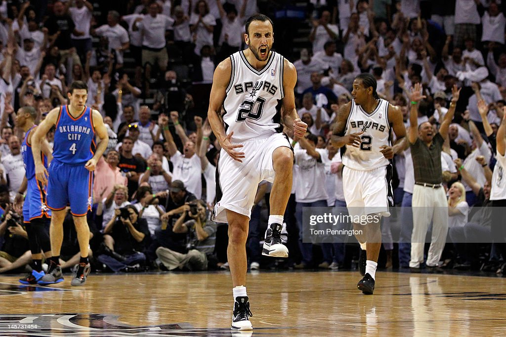 Manu Ginobili #20 of the San Antonio Spurs reacts after hitting three pointer in the third period against the Oklahoma City Thunder in Game Five of the Western Conference Finals of the 2012 NBA Playoffs at AT&T Center on June 4, 2012 in San Antonio, Texas.