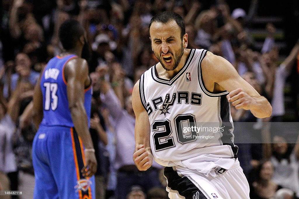 Manu Ginobili #20 of the San Antonio Spurs reacts after making a three-pointer in the fourth quarter against the Oklahoma City Thunder in Game Two of the Western Conference Finals of the 2012 NBA Playoffs at AT&T Center on May 29, 2012 in San Antonio, Texas.