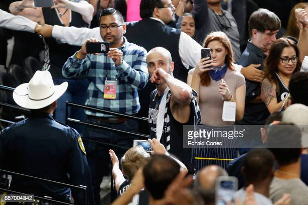 Manu Ginobili of the San Antonio Spurs reacts as he leaves the court after the Golden State Warriors defeated the San Antonio Spurs 129115 in Game...