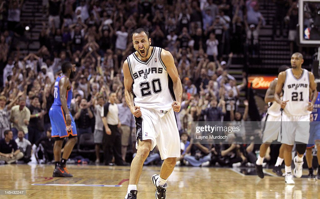 Manu Ginobili #20 of the San Antonio Spurs reacts in Game Two of the Western Conference Finals between the Oklahoma City Thunder and the San Antonio Spurs during the 2012 NBA Playoffs on May 29, 2012 at the AT&T Center in San Antonio, Texas.