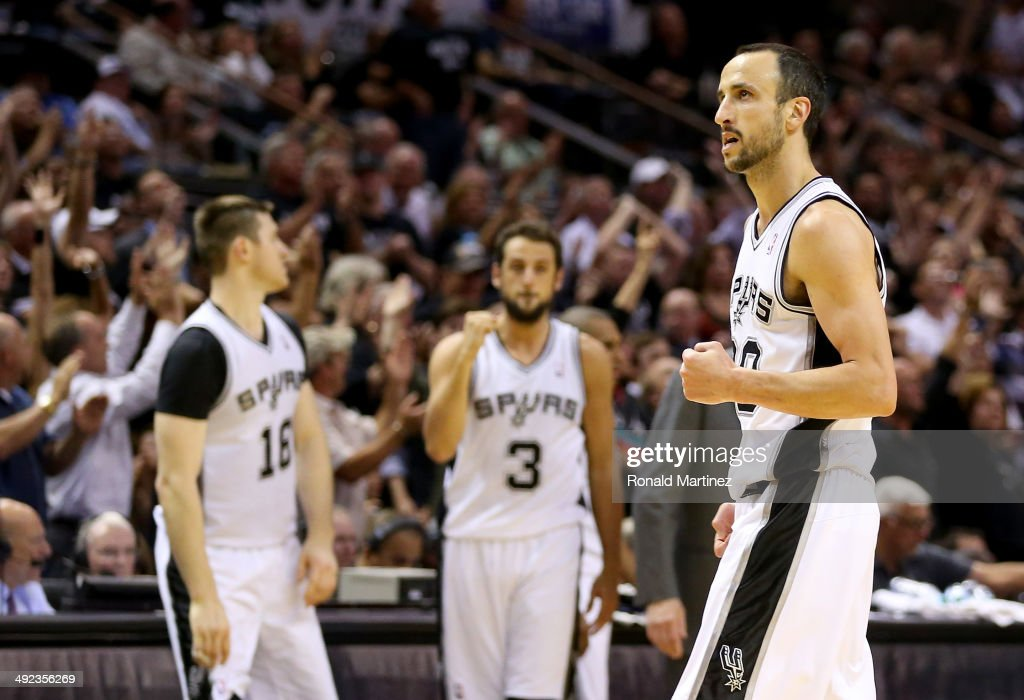 Manu Ginobili #20 of the San Antonio Spurs reacts in the fourth quarter while taking on the Oklahoma City Thunder in Game One of the Western Conference Finals during the 2014 NBA Playoffs at AT&T Center on May 19, 2014 in San Antonio, Texas.