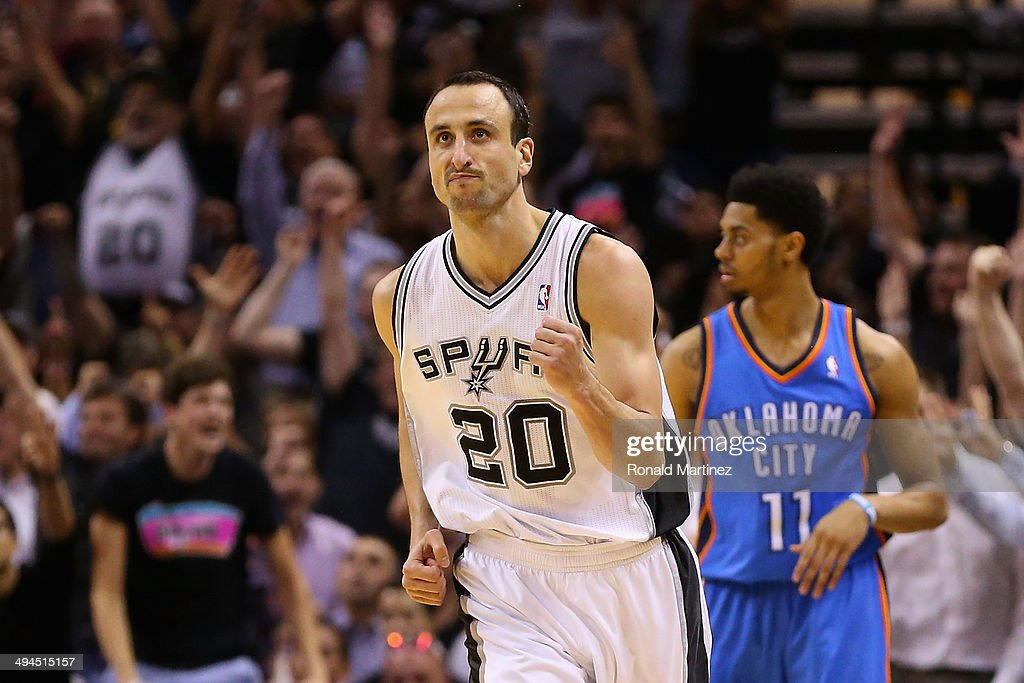 Manu Ginobili #20 of the San Antonio Spurs reacts to a play in the second half against the Oklahoma City Thunder during Game Five of the Western Conference Finals of the 2014 NBA Playoffs at AT&T Center on May 29, 2014 in San Antonio, Texas.