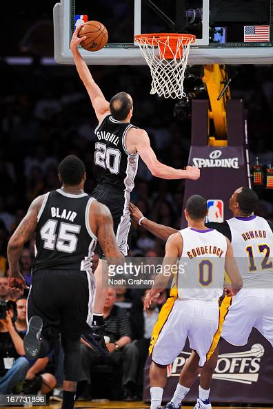 Manu Ginobili of the San Antonio Spurs rises for a dunk against the Los Angeles Lakers in Game Four of the Western Conference Quarterfinals during...