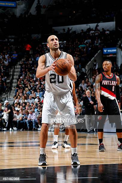 Manu Ginobili of the San Antonio Spurs shoots a free throw during the game against the Portland Trail Blazers on November 16 2015 at the ATT Center...