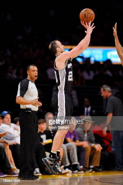 Manu Ginobili of the San Antonio Spurs shoots a threepointer against the Los Angeles Lakers in Game Four of the Western Conference Quarterfinals...