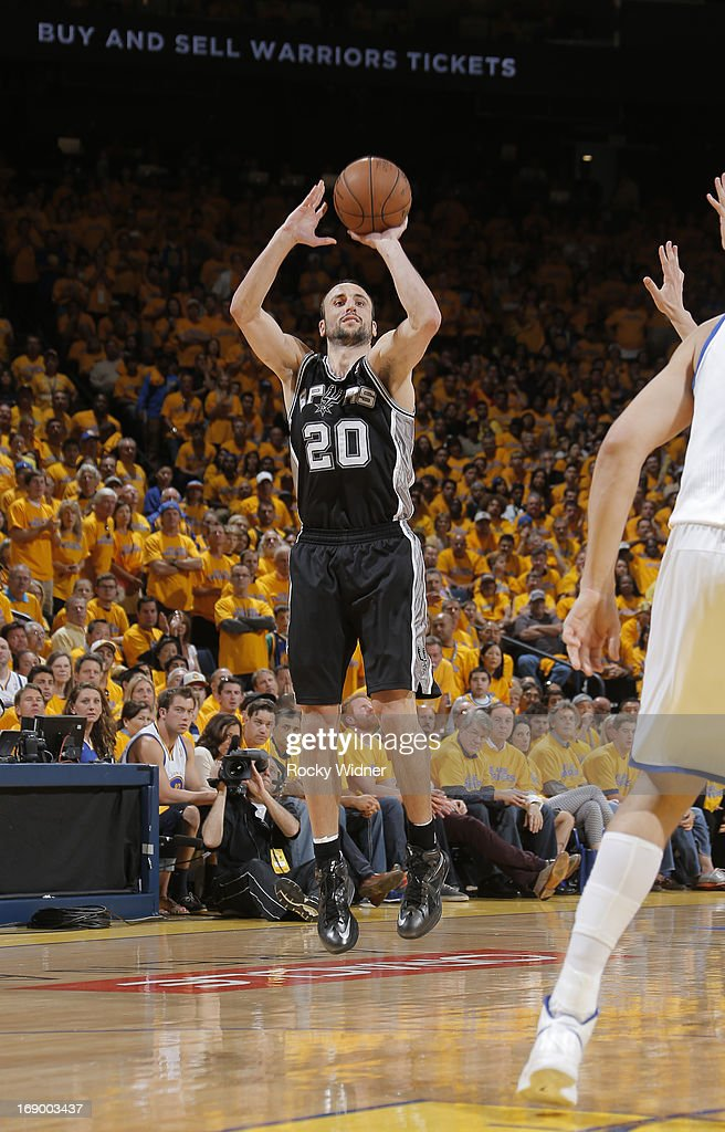Manu Ginobili #20 of the San Antonio Spurs shoots against the Golden State Warriors in Game Four of the Western Conference Semifinals during the 2013 NBA Playoffs on May 12, 2013 at Oracle Arena in Oakland, California.