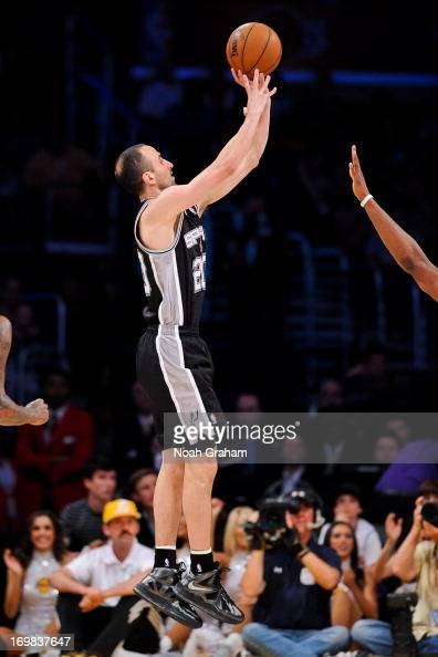 Manu Ginobili of the San Antonio Spurs shoots against the Los Angeles Lakers in Game Four of the Western Conference Quarterfinals during the 2013 NBA...