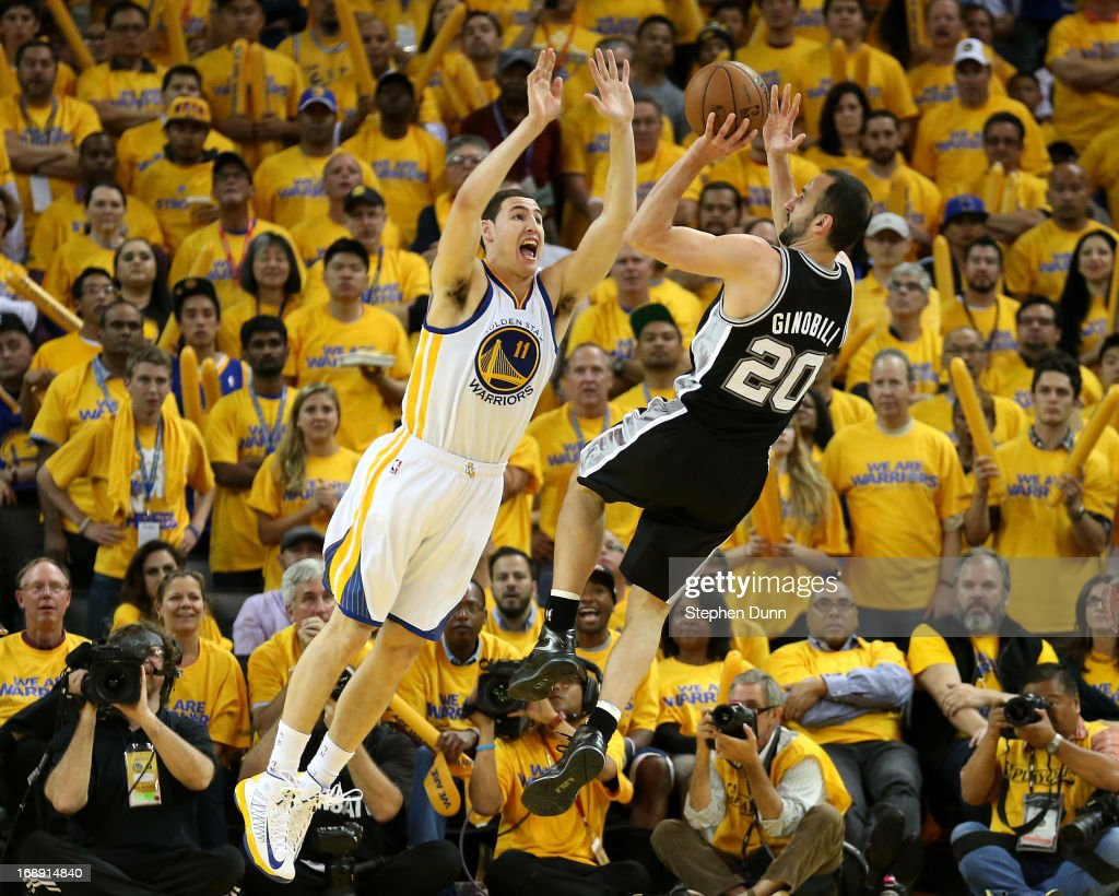 Manu Ginobili #20 of the San Antonio Spurs shoots over Klay Thompson #11 of the Golden State Warriors in Game Six of the Western Conference Semifinals during the 2013 NBA Playoffs on May 16, 2013 at the Oracle Arena in Oakland, California. The Spurs won 94-82 to take the series 4-2. .