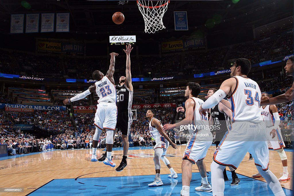 Manu Ginobili #20 of the San Antonio Spurs shoots the ball against the Oklahoma City Thunder on April 7, 2015 at Chesapeake Energy Arena in Oklahoma City, Oklahoma.