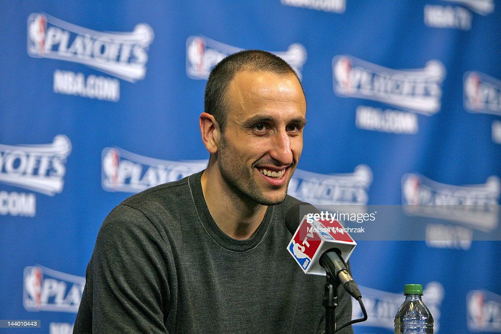 Manu Ginobili #20 of the San Antonio Spurs speaks after his team's victory against the Utah Jazz in Game Four of the Western Conference Quarterfinals during the 2012 NBA Playoffs at Energy Solutions Arena on May 7, 2012 in Salt Lake City, Utah.