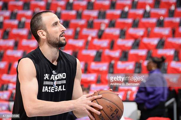 Manu Ginobili of the San Antonio Spurs warms up before Game Seven of the Western Conference Quarterfinals against the Los Angeles Clippers during the...
