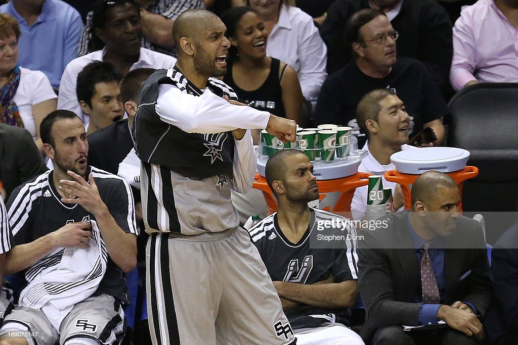 Manu Ginobili #20 , Tim Duncan #21 and Tony Parker #9 of the San Antonio Spurs react on the bench in the secon dhalf against the Memphis Grizzlies during Game One of the Western Conference Finals of the 2013 NBA Playoffs at AT&T Center on May 19, 2013 in San Antonio, Texas.