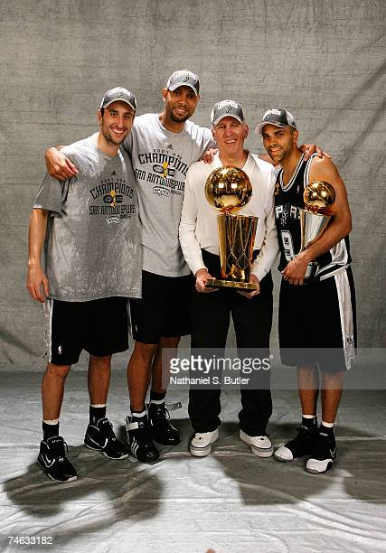 Manu Ginobili Tim Duncan head coach Gregg Popovich and Finals MVP Tony Parker of the San Antonio Spurs pose for a photo with the Larry O'Brien...