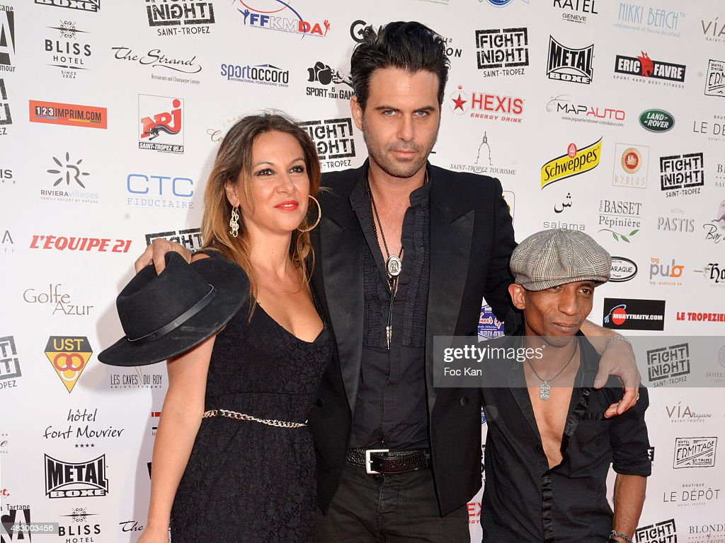Manu Lanvin (C) and members of his band attend the 'Fight Night 2015' Gala Show at La Citadelle de Saint Tropez on on August 4, 2015 in Saint-Tropez, France.