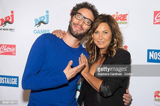 Manu Levy and Evelyne Thomas pose at the Photocall of NRJ Group at Musee du Quai Branly on September 14 2016 in Paris France