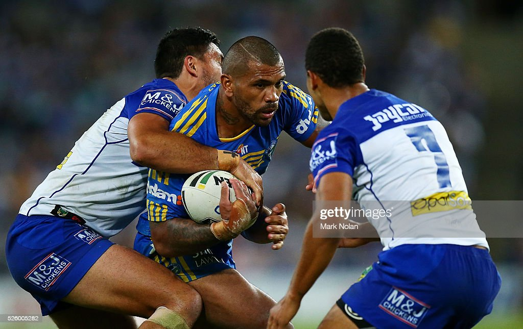 Manu Ma'u of the Eels in action during the round nine NRL match between the Parramatta Eels and the Canterbury Bulldogs at ANZ Stadium on April 29, 2016 in Sydney, Australia.