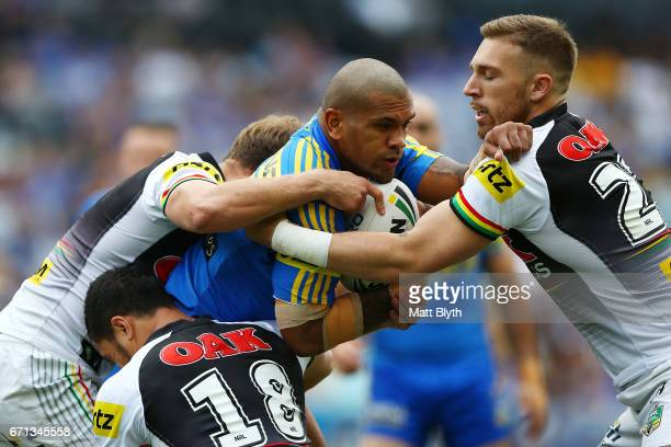 Manu Ma'u of the Eels is tackled during the round eight NRL match between the Parramatta Eels and the Penrith Panthers at ANZ Stadium on April 22...