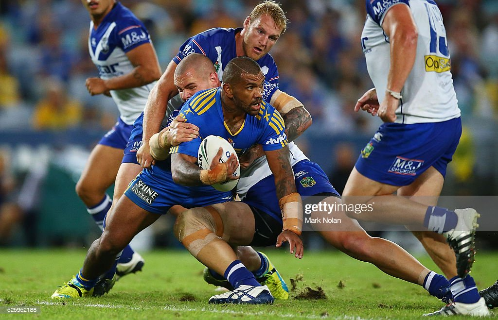 Manu Ma'u of the Eels looks to offload during the round nine NRL match between the Parramatta Eels and the Canterbury Bulldogs at ANZ Stadium on April 29, 2016 in Sydney, Australia.