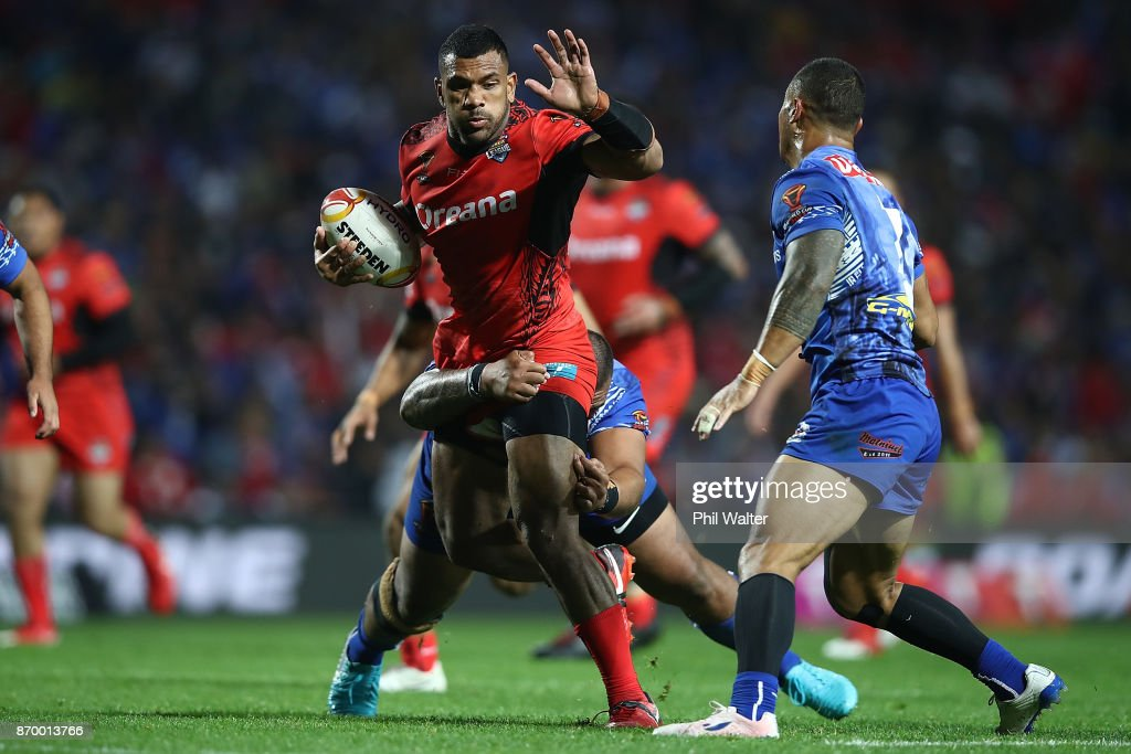 Manu Ma'u of Tonga is tackled during the 2017 Rugby League World Cup match between Samoa and Tonga at Waikato Stadium on November 4, 2017 in Hamilton, New Zealand.