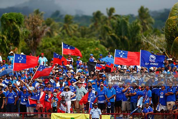 Manu Samoa fans during the International Test match between Samoa and the New Zealand All Blacks at Apia Stadium on July 8 2015 in Apia Samoa