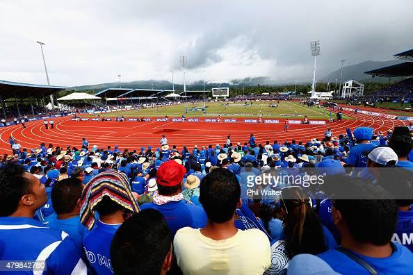 Manu Samoa fans during the International Test match between Samoa and the New Zealand All Blacks at Apia Stadium on July 8 2015 in Apia Samoa