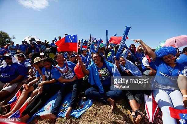 Manu Samoa supporters before the International Test match between Samoa and the New Zealand All Blacks at Apia Stadium on July 8 2015 in Apia Samoa